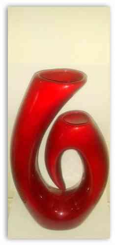 Váza keramická tmavo červená lesklá vysoká 30cm  - obrázok